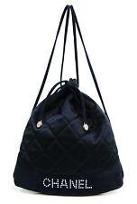 Chanel France Navy Blue Quilted Satin Drawstring Backpack Bag