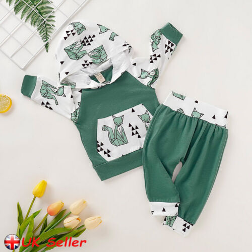 UK Infant Kids Baby Boys Clothes Fox Print Hooded Tops Pants Newborn Outfits Set