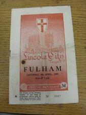 09/04/1955 Lincoln City v Fulham  (Folded, creased, team changes, Cigarette/burn