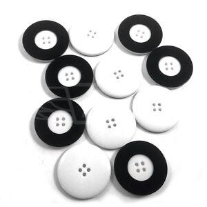 Contemplatif Pack De 10, 34 Mm Boutons Bouton En Plastique Blanc Bordure Noire 4 Trou Btn (27292-54)-afficher Le Titre D'origine