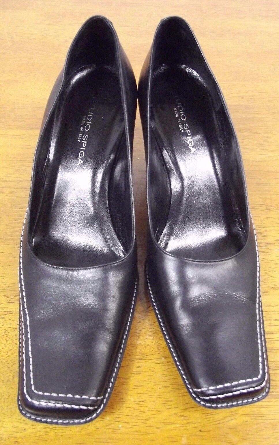Studio Spiga Womens shoes Size 6 M Black Leather Heels Pumps
