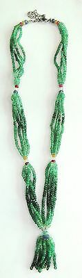 145 Ct Faceted Emerald Gemstones Four Strands Beads Necklace India