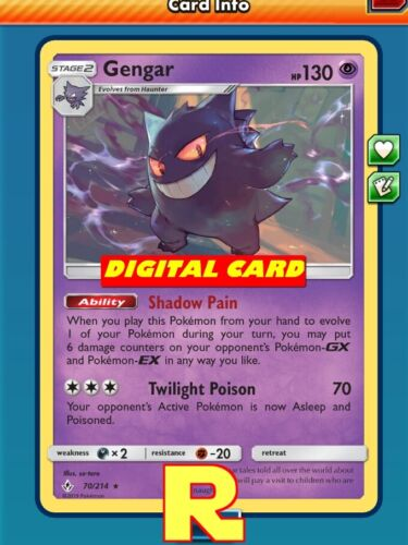 - For Pokemon TCG Online Shadow Pain Gengar Playset PTCGO in game card