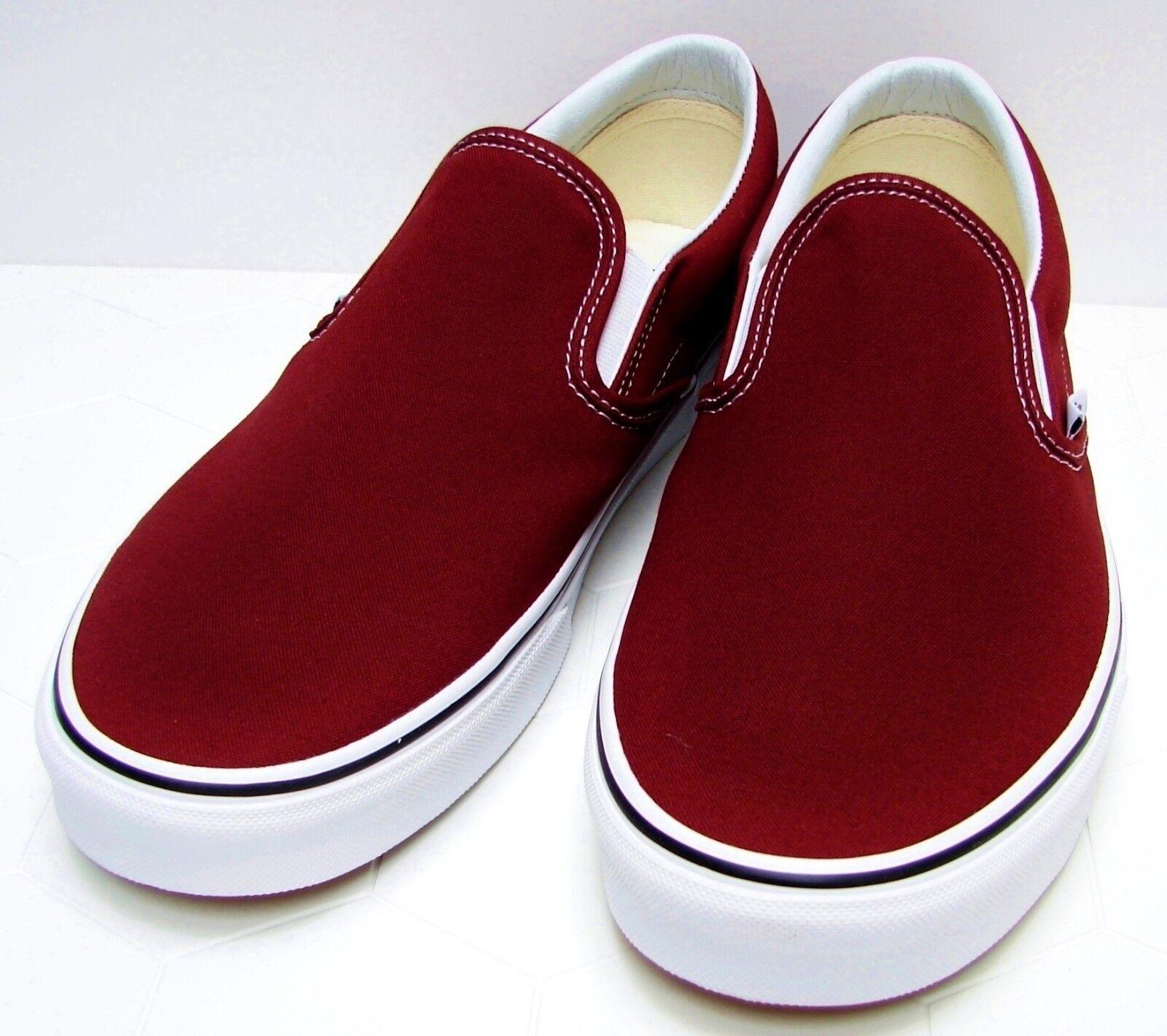 VANS Classic Slip-On Madder Brown True White VN-0A38F7OVK Men's size  10