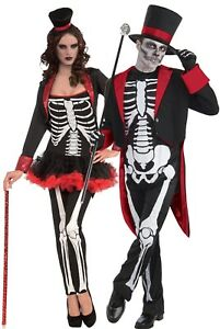 Couples-Mens-amp-Ladies-Mr-and-Mrs-Skeleton-Halloween-Fancy-Dress-Costumes-Outfit
