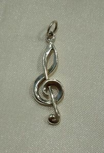 Sterling-Silver-925-Bracelet-Necklace-Charm-2g-Treble-Clef-Music-Note-1-1-4-034