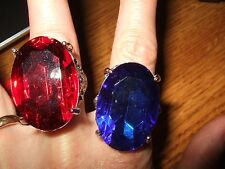 lot 2 large faux jewel gem adjustable ring silver tone red blue jewelry fashion