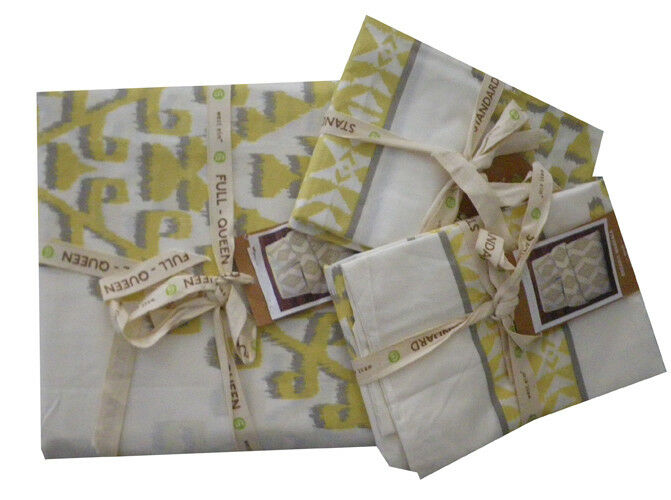West Elm Organic Mandala Ikat Full Queen Duvet Cover with 2 Standard Shams