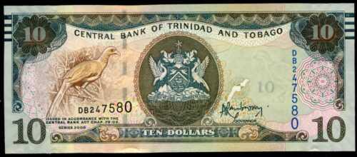 2015 TRINIDAD /& TOBAGO 10  DOLLARS 2006 Prefix DB P 55   Uncirculated