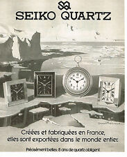PUBLICITE ADVERTISING 044   1979   SEIKO  QUARTZ   montres pendules réveils