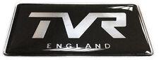 TVR England Gel Domed Black & Chrome Effect Self Adhesive Badge 77x37mm