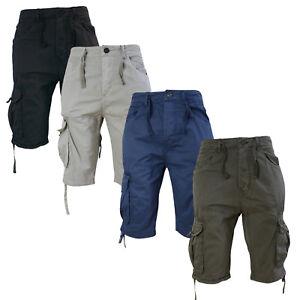 Crosshatch-Mens-Cargo-Shorts-Lightweight-Knee-Length-Utility-Combat-Summer-Pants