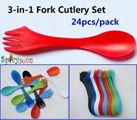 24pcs/pack 3-in- 1 Spoon Fork Knife Cutlery Set Camping Hiking Utensils Spork