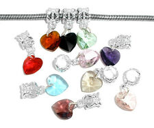 50 Mixed Heart Crystal Dangle Beads Fit Charm Bracelet