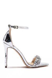 299673c48da Details about Lauren Lorraine Bernie Embellished Silver Metallic High Heel  Single Sole Sandal