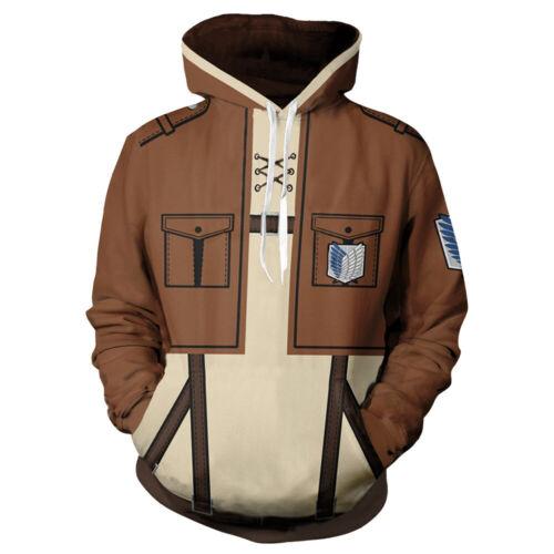 Attack On Titan Anime Pullover Hoodie Hooded Tops Sweatshirt Jacket Zipper Coat