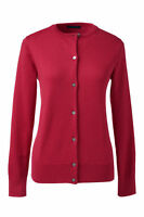 Lands End Women's Ls Supima Crew Cardigan Sweater Rich Red