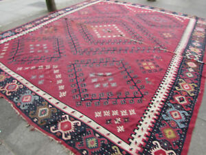 Antique-Traditional-Turkish-Oriental-Hand-Made-Kilim-Rug-405x345cm-Red-Wool