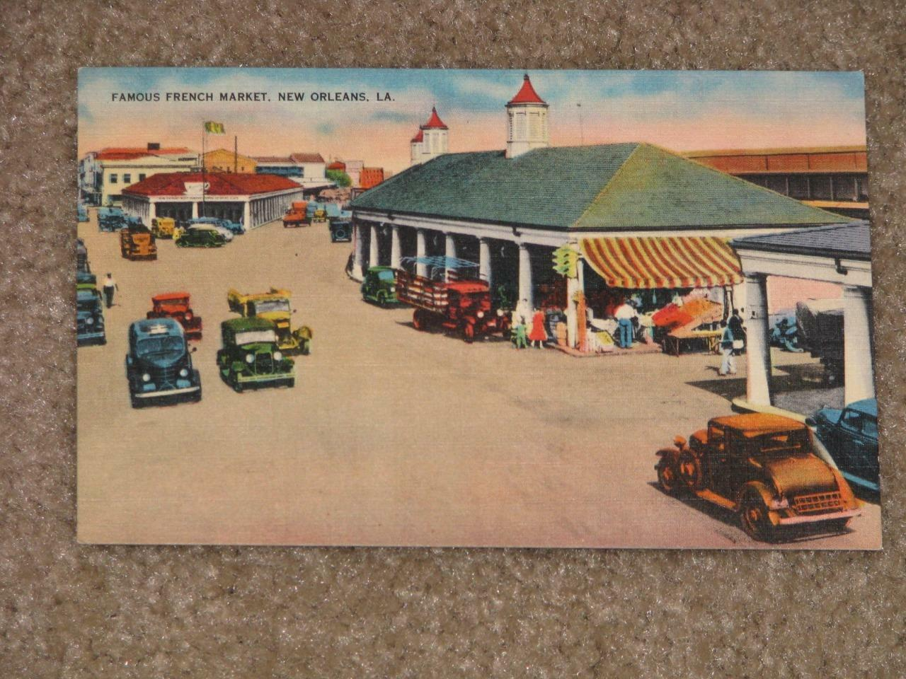 Famous French Market, New Orleans, unused vintage card