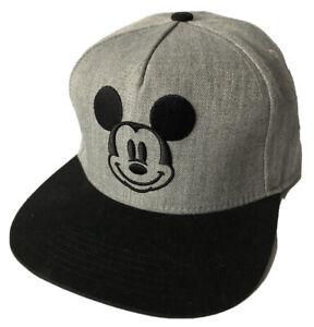 NWOT-DISNEY-Mickey-Mouse-Gray-Black-Men-s-Adjustable-SnapBack-Baseball-Cap-OS