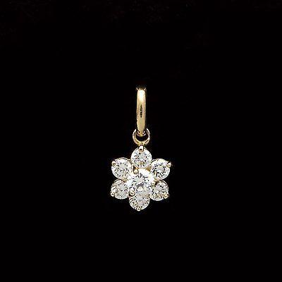 1//4ct Created Diamond /& Pearl Pendant 14k Solid Yellow Gold Round Swirl Charm