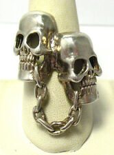 WIDE STERLING SILVER DOUBLE SKULL CHAIN GOTH RING SIZE 10   15 GRAMS