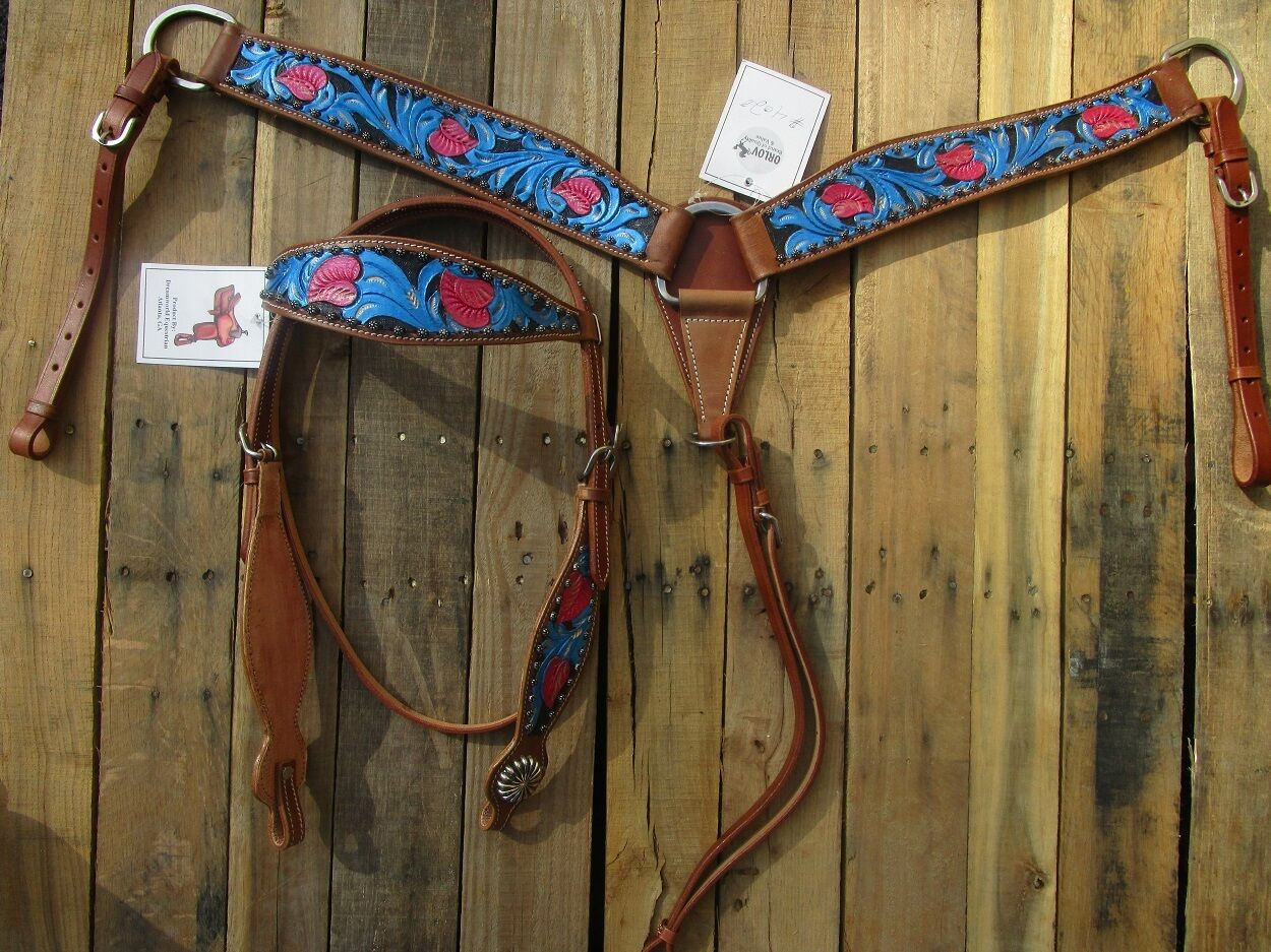 WESTERN HEADSTALL BREASTCOLLAR SET TURQUOISE blueE PINK SHOW HORSE LEATHER BRIDLE