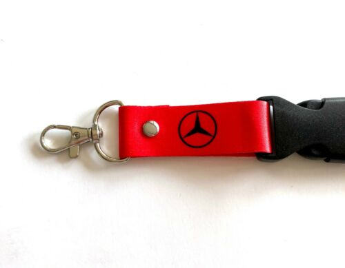 2x Mercedes Benz Lanyards 1 inch x 22 inch KeyChain ID Badge Cardholder Red//Gray