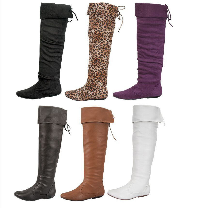 New Fashion - Over the Knee Thigh High Women Winter flat Boots Size #5 - #10