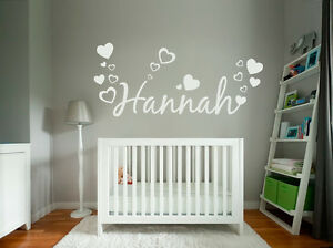 Custom-Text-Name-Vinyl-Wall-Door-Sticker-Children-Kids-and-Hearts-Fonts-Colours