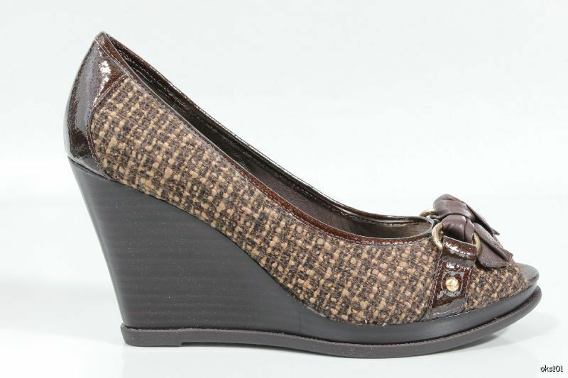 New SPERRY Top-Sider 'Silverside' brown BOW open-toe platforms wedges wedges wedges shoes 9.5 8c183b