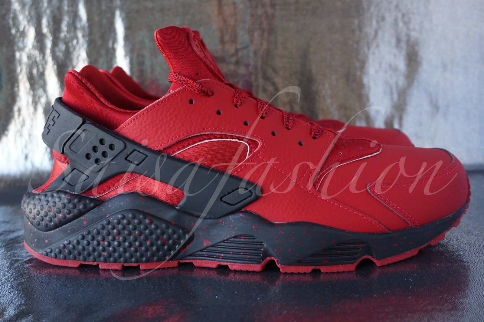 Nike Air Huarache Run iD NikeiD Leather Red October Men's 777330 985 Sz 12.5