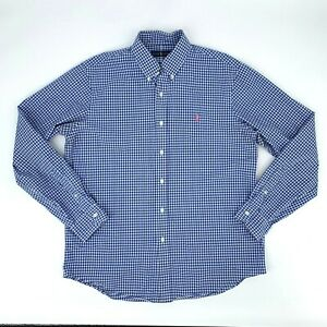 Ralph-Lauren-Button-Down-Shirt-Mens-Size-L-Gingham-Plaid-Long-Sleeve-Blue-Collar
