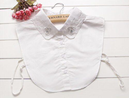 New Detachable Cotton Lapel Shirt Fake False Collar Choker Necklace #EAF098