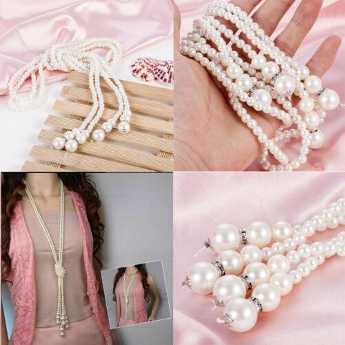 Femmes d/'Eau Douce Blanc Perle Goutte Perle Collier de perles chaîne longue corde Bead JP