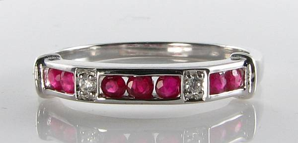 CLASS 9K 9CT WHITE gold RUBY DIAMOND ART DECO HALF ETERNITY INS RING FREE RESIZE