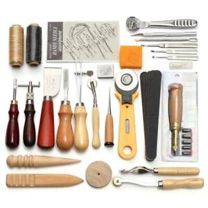 LeatherCraft Punch Tools Kit Stitching Carving Working Sewing Saddle Groover Set