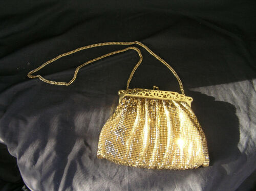 Vintage Whiting and Davis Gold Metal Mesh Purse with Pierced Metal Frame, USA