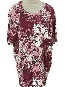 Coral-Bay-Plus-top-size-2X-pink-short-sleeve-with-cuffs-floral