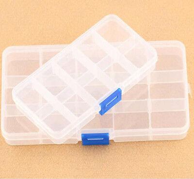 Plastic 15/10 Slots Adjustable Jewelry Storage Box Case Craft Organizer Beads sh