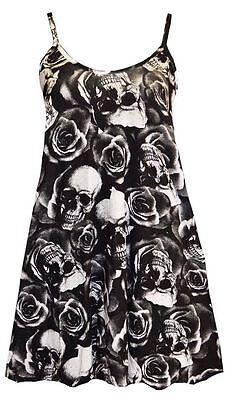 New Womens Ladies Skull Cami Swing Strappy Long Vest Mini Dress Size 8-24