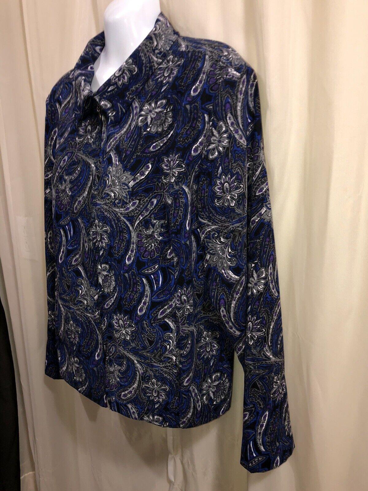 CHRISTOPHER & BANKS Paisley Unlined Jacket Zip Fr… - image 3