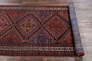 Antique-Geometric-Tribal-Malayer-Hand-Knotted-Oriental-Runner-Rug-9-039-6-034-x-3-039-4-034