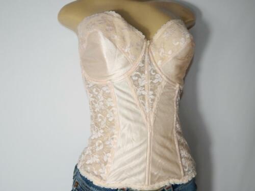 Vintage Carnival Tan Lace Bustier Corset Top Size… - image 1
