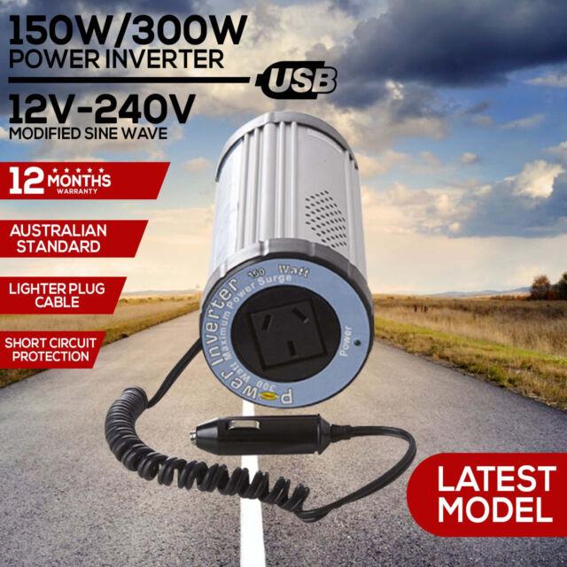 150W 300W Car Power Inverter 12V 240V USB Port Sine Wave DC Caravan Camping