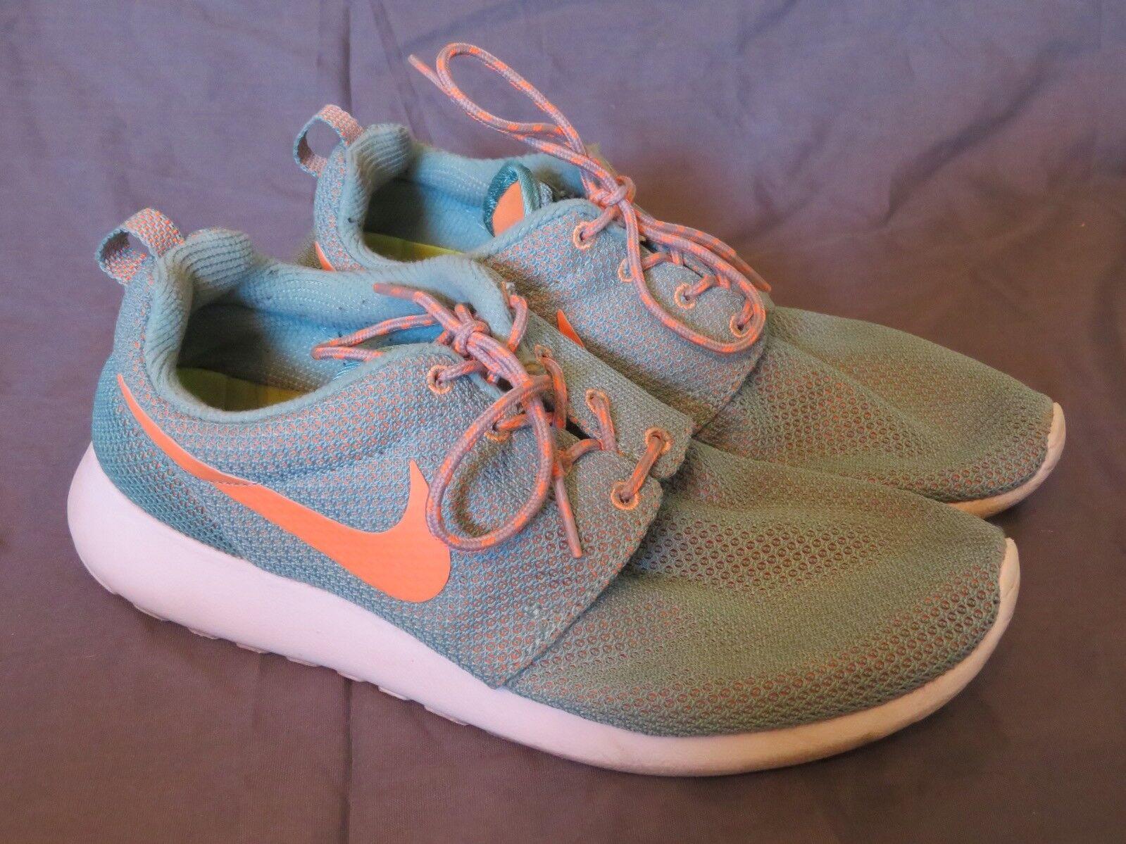 Women's Nike RosheRun Running Shoes Diffused Jade & Orange Roshe Run Size 9