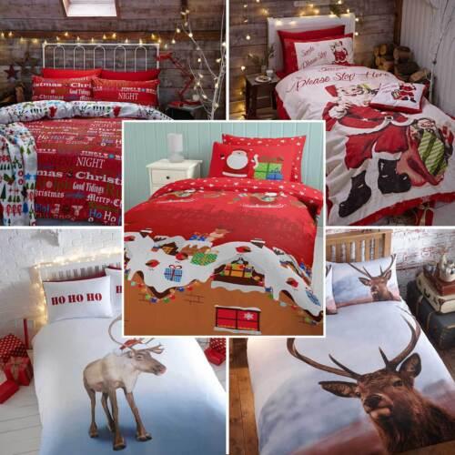 Stag Retro c/'mas lema o santas presenta Navidad conjuntos de edredón-Reno