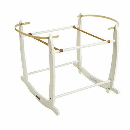 Clair de Lune Deluxe Rocking Moses Basket stand blanc