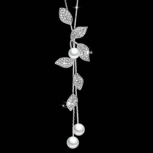 Fashion Leaf Pearl Fleur de cristal pendentif long pull Collier Chaîne Femmes Cadeau