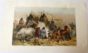Lithographie-BAYOT-034-Groupes-de-patagons-034-Dumont-d-039-Urville